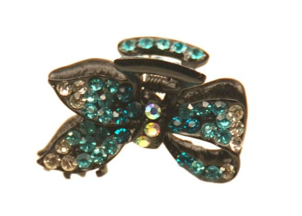1. MiniE050 blue mini size hairstyling crystal embellished sequined jaw hair clip